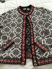 NORWAY Cardigan Sweater LL BEANS W MED BLACK WHITE BEAUTIFUL PEWTER BUTTONS
