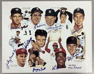 Yogi Berra Signed Litho 16x20 Baseball Whitey Ford LaMotta +6 Autograph HOF JSA