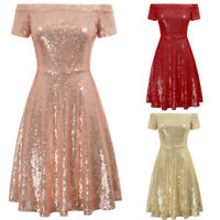Glitter Sequins Women's Sexy Ball Gown Evening Party Cocktail A-line Swing Dress
