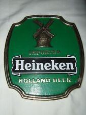 Vintage Heineken Holland Beer Man Cave Wall Mounting Sign Windmill Green Gold