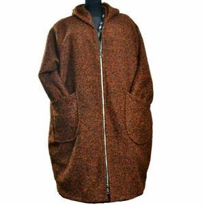 Wollemantel Mantel Boucle Wolle Lagenlook Kapuze Kupfer 50 52 54 56 58 60 XXL