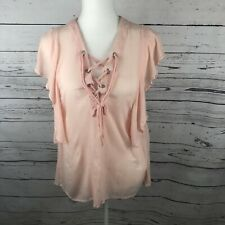 UMGEE Spring Summer Ruffle Top Blouse Shirt Career Women's Sz M Lace Up