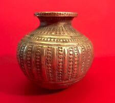 "Archaic Asian Indian Bronze Copper Temple Vessel Elaborate Decoration 2.75"""