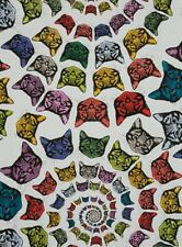 Alexander Henry Nicole Prints 8667 A Natural/Multi Cat-finity  Cotton Fabric BTY