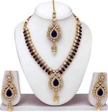 New Kundan Bridal Jewelry Set Blue Necklace Earrings Gold Plated Wedding Fashion