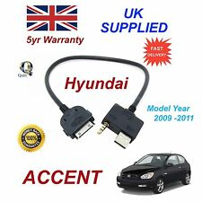 For Hyundai Accent iPhone 3 3gs 4 4S iPod USB & Aux Audio Cable MY 2009-11
