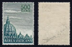 "Vaticano 1958 P. A. ""Cupolone"" L. 500 dent. 14 n. 33/I nuovo MNH** g. i. Sorani"