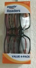 Equate Readers Queens +2.50 Reading Glasses Womens Multicolor 4 Pack New