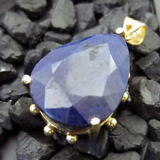 Handmade Natural 125 Ct Sapphire Pendant 22K Yellow Gold over Sterling Silver