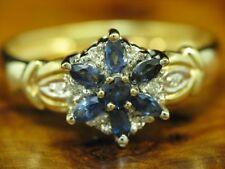 8kt 333 Gelbgold Ring mit Diamant & 0,88ct Saphir Besatz / 2,9g / RG62