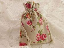 Floral Rustic Burlap/Jute Drawstring Pouch Favour Bag Jewellery Gifts 11 x 14 cm