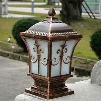Vintage Pillar Light Glass Lantern Garden Lighting Outdoor Yard Gate Post Lamp