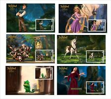 2010 DISNEY TANGLED CHARACTERS 6 SOUVENIR SHEETS UNPERFORATED animation