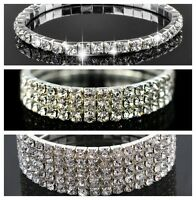 Sparkly bling diamante/rhinestone/crystal silver stretch bracelet Uk seller