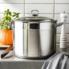 More details for 10 litre large deep stainless steel cooking stock pot glass lid induction base