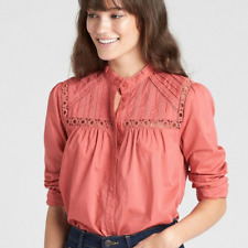 New! Gap coral pink women's pintuck mock neck blouse - XS - shirt lace top frill