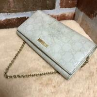 Auth Gucci Guccissima Wallet COW Clutch Bag Handbag White Leather USED G0144