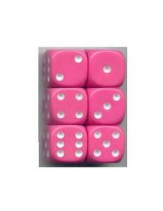 NEW Dice Set of 6 D6 (16mm) - Opaque Pink