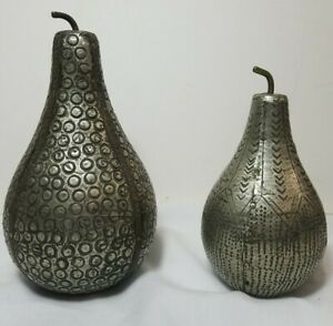 Rustic Collectible Hammered Metal Decretive Pears (2) 4.5 in. and 5.75 in.