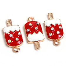 100pcs Gold Plated Red&White Enamel Rhinestone Alloy Ice-cream Pendants Charms D