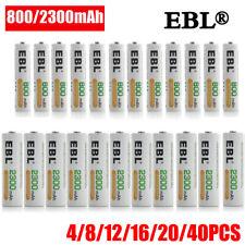 EBL Lot 4-40PCS AA AAA 2300/800mAh NI-MH Rechargeable Batteries Battery + Case