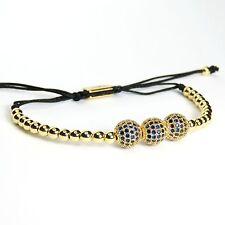 Men And Women Beads Bracelet 3 Balls Inlaid Blue Crystal 24k Yellow Gold Plating