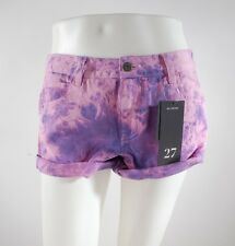 2014 NWT WOMENS BILLABONG TIE DYE DENIM SHORTS $50 27 purple multi surf swim