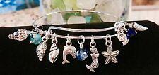 Mini sea shells, Mermaid & Dolphin Silver charm Expandable Bangle Bracelet