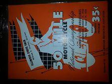 50 mile motorcycle national championship souvenir program 1958