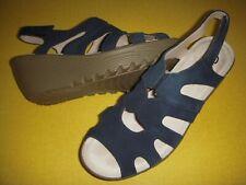 Skechers Stylin' Suede Leather Peep Toe Wedge Heel Sandals Women's 7.5 M Navy