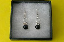 Beautiful Silver Earrings With Onyx  4 Gr. 2.5 Cm. Long + Hooks In Gift Box