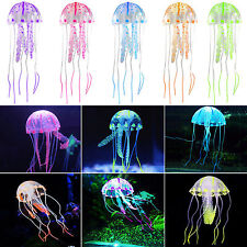 Silicone Artificial Jellyfish Aquarium Fish Tank Glowing Effect Ornament Decor