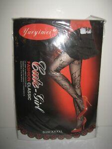Black Fishnet Pantyhose Goth Halloween Cue Girl Brand Size XXXXL