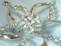 WOW Super Sparkling Star Flower Ice Rhinestone Vintage 80's Brooch Pretty 179a7