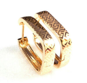 Creole Huggie Hoop Earrings Patterned 18K Gold Plated 20mm Rectangle Love Africa