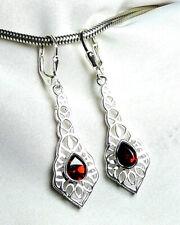 Design neu Granat Ohrhänger 925 Silber Klappbrisur mit fac Edelsteinen zauberh