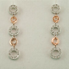 DANGLE EARRINGS -  0.60 ct. DIAMONDS IN  14K WHITE & ROSE GOLD