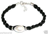 Armband Silber Sterling- 925 mit Perle kultiviert 11mm und Leder schwarz natural