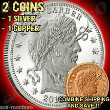"2 Zombucks ""THE BARBER"" 1 Silver & 1 Copper USA ZOMBIE COINS + FREE AIRTITES 1oz"