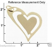 Bold Heart in Heart Charm Pendant Real Solid 14K Yellow Gold 3.4gr QVC