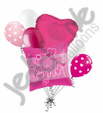 7 pc Baby Christening Girl Pink Balloon Bouquet Party Decoration Religious Heart