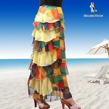 SHARON TANG Modest Apparel  Long Chiffon Yellow Ruffle Layer Skirt M