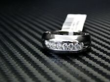 Mens Diamond Wedding Ring/Band Round Brilliant Cut 14K White Gold 0.5Cts Channel