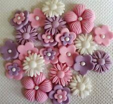 Pink lilac white flowers edible sugar paste cake topper cupcakes birthday
