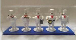 "Genuine Michelin Man Chef 11""cm Five Plastic Decorative Display Figures Full Set"