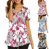 Women Fashion Floral V Neck Short Sleeve Print Top Tunic Shirt Ladies Top Blouse