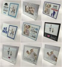 FATHERS DAY BIRTHDAY PHOTO FRAME GLASS MIRROR SILVER GIFT BOXED PRESENT PLAQUE