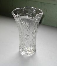 PRESCUT/ STAR OF DAVID ANCHOR HOCKING LEAD CRYSTAL VASE