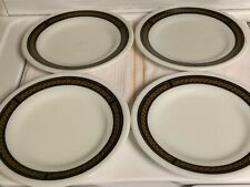 "Vintage Pyrex ""Fleur De Lis""Set/4 Luncheon Plate 9"" Milkglass Ebony Border USA"