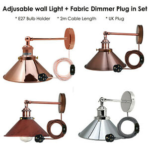 Modern Vintage Industrial Indoor Wall Light Fitting Dimmer Plug in Lounge Lamp